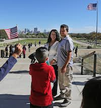 Norma Varela of Mexico poses for a photo with husband Fernando Pezina after she was sworn in as U.S. citizen during a naturalization ceremony at the Amon Carter Museum of American Art in Fort Worth on Nov. 20, 2017.(Louis DeLuca/Staff Photographer)