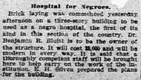 A News clipping from Dec. 30, 1904, details the start of bricklaying for what would eventually become the Bluitt Sanitarium, opened in 1906.(Dallas Morning News Archives)