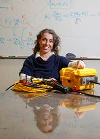 Beatrice Magnani, associate professor of geophysics at Southern Methodist University, at Heroy Science Hall on Southern Methodist University's main campus with a seismometer used in her research.(Ron Baselice/Staff Photographer)