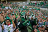 A Boba Fett costume from Star Wars is the perfect color for wearing to a Saskatchewan Roughriders' game. (Greg Huszar)