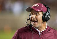 In this 2016 file photo, Florida State coach Jimbo Fisher shouts instructions during the team's NCAA college football game against Clemson in Tallahassee, Fla.(Mark Wallheiser/AP)