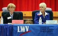 At a 2012 League of Women Voters event in Richardson, Miller (left) squared off against her Democratic opponent, Lois Parrott. (Staff File Photo)