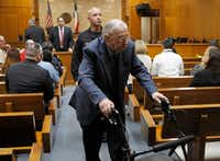 "<p>John Feit exits the the 92nd State District Court during a break for lunch in his trial for the 1960 murder of Irene Garza on Friday.</p>(<p>Nathan Lambrecht</p>/<p>The Monitor via <wbr style="""">AP</p>)"