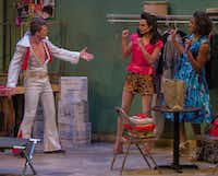 "Kyle Igneczi, as Casey in his Elvis costume, interacts with Chris Herrero as Miss Roxy and Walter Lee as Miss Tracy in Uptown Players' production of the regional premiere of ""The Legend of Georgia McBride"" at Kalita Humphreys Theater.(Robert W. Hart/Special Contributor)"