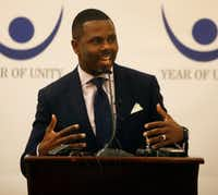 Richie Butler, senior pastor at St. Paul United Methodist Church and founder of Project Unity, announces the Year of Unity project during a press conference at the Belo Mansion in Dallas on Tuesday, Jan. 24, 2017. The Year of Unity, led by government and community leaders, will put an intentional spotlight, for an entire year, on the growing distrust and division between institutions and minority communities.(Rose Baca/Staff Photographer)