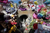 A culvert where 3-year-old Sherin Mathews was found in Richardson in late October became a memorial to her.(Tony Gutierrez/The Associated Press)