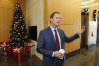 Geoff Meyer, executive vice president for VanTrust Real Estate LLC, at Frisco Station, which is opening its first phase.(Stewart F. House/Special Contributor)