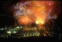 Fireworks exploded high above Barcelona's Olympic Stadium during the opening ceremony of the 1992 Games.(Mike Powell/Getty Images)