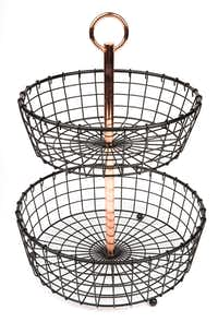 Two-tier basket with copper accent from Sam's Club.(Ashley Landis/Staff Photographer)