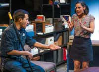 Franco Gonzalez (left) and Melisa Pereyra perform a scene from the regional premiere of Tanya Saracho's play <i>Fade</i>, presented by Dallas Theater Center at the Wyly Theatre's Studio Theatre. (Robert W. Hart/Special Contributor)
