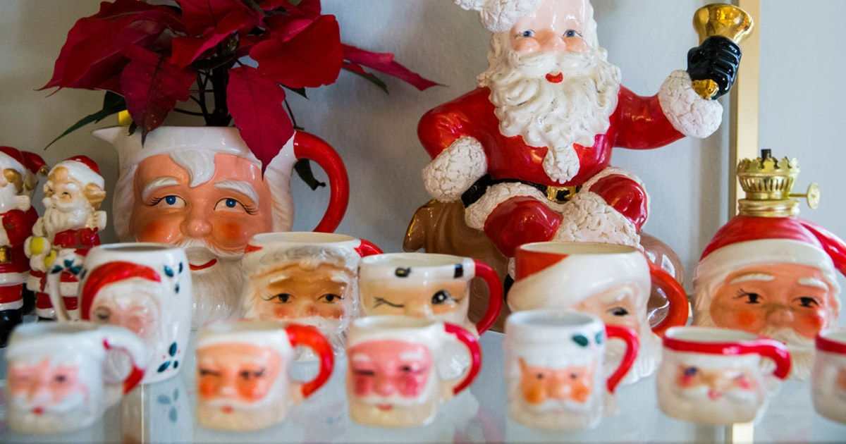 Serious about santa: dallas woman has a handle on 200 vintage mugs