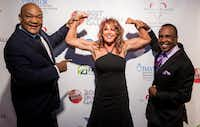 Nancy Lieberman is flanked by George Foreman, left, and Sugar Ray Leonard at the 2017 Dream Ball Gala, which honored the boxing greats.(Nancy Lieberman Charities)
