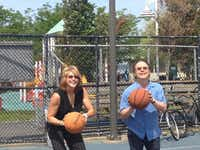 Basketball legend Nancy Lieberman and comedian Billy Crystal prepare for a shot at the November 2013 dedication of two $84,000 public courts paid for by Lieberman s foundation to help Crystal s hometown of Long Beach, N.Y. rebound from the devastation of superstorm Sandy. Crystal will appear in  at the Bomb Factory in Deep Ellum on Feb. 19 to raise money for her charity.(Nancy Lieberman Charities)