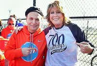 Comedian Billy Crystal and basketball legend Nancy Lieberman at the November 2013 dedication of two $84,000 public courts paid for by Lieberman s foundation to help Crystal s hometown of Long Beach, N.Y. rebound from the devastation of superstorm Sandy. Crystal will appear at the Bomb Factory in Deep Ellum on Feb. 19 to raise money for her charity.(©Michael Paras Photography (973)