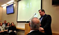 Dustin Marshall, the DISD trustee for the area around Woodrow Wilson High School, asked the Dallas Park and Recreation Board on Thursday to vote for a 22-space parking lot in Randall Park. The board ultimately rejected DISD's request by an 11-4 vote, after having first approved it on Nov. 2.(Robert Wilonsky/Staff)