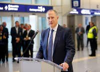 DFW Airport CEO Sean Donohue spoke before a ribbon-cutting to celebrate the newly renovated Terminal A, the first of several terminals receiving a makeover, on Jan. 25, 2017.(Tom Fox/Staff Photographer)