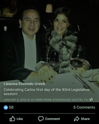 <p>Sen. Carlos Uresti denied he was with the accuser on the night of the first day of the 2013 legislative session and presented a photo of him with his wife from that date.</p>(Facebook)