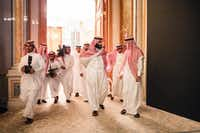 Trailed by his entourage, Crown Prince Mohammed bin Salman (center) arrived at a financial conference in Riyadh, Saudi Arabia, in October. Prince Mohammed, acting though a friend and distant cousin, was the true buyer behind the purchase of Leonardo da Vinci's <i>Salvator Mundi</i> for a record-breaking $450.3 million.(Tasneem Alsultan/The New York Times)