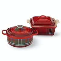 Tartan Dutch oven and covered baker by Le Creuset at Williams-Sonoma. (Williams-Sonoma)