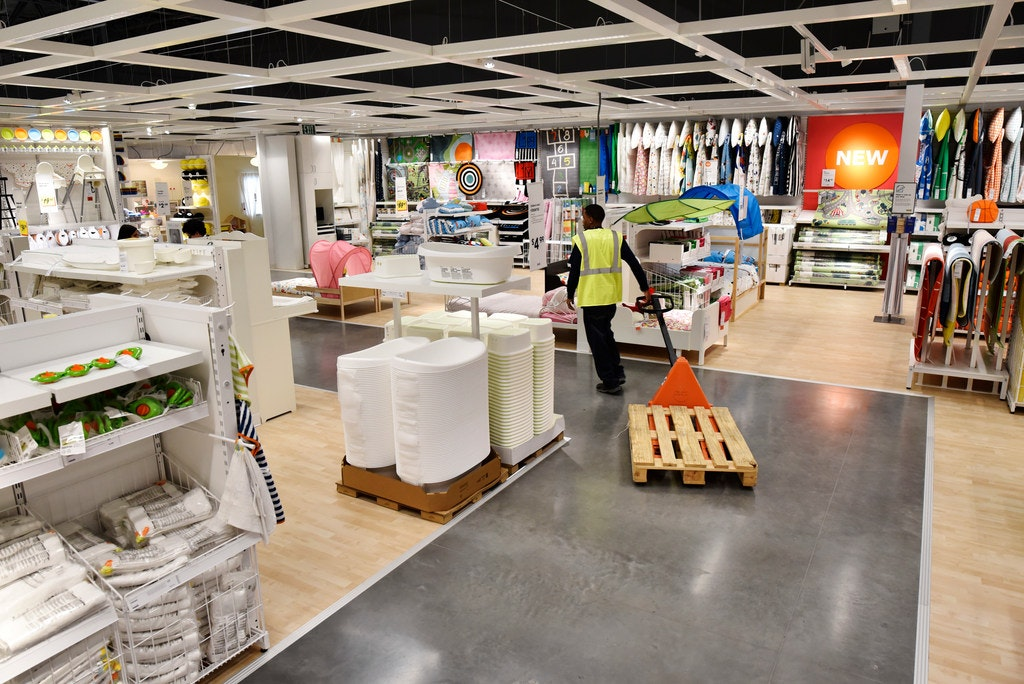 An Employee Pulls A Pallet Through The Childrenu0027s Section Inside The New IKEA  Furniture Store In Grand Prairie.