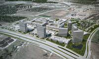 This rendering shows developers' vision for the Wade Park mixed-use project at the southeast corner of the Dallas North Tollway and Lebanon Road in Frisco. Three years after ground was broken, two unfinished retail buildings and a hole in the ground is all there is to show for the ambitious deal.(Thomas Land & Development)