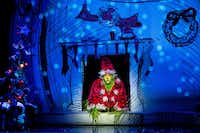 Philip Bryan plays the Grinch in Dr. Seuss' 'How the Grinch Stole Christmas,' presented by AT&T Performing Arts Center at Winspear Opera House Dec. 5-17, 2017.(Andy Martin Jr)