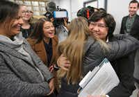 Lupe Valdez was greeted by well-wishers after announcing her candidacy last week in the Texas governor's race. (Louis DeLuca/Staff Photographer)