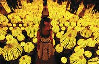 "Lyza Hernandez stands amid Yayoi Kusama's installation ""All the Eternal Love I Have for the Pumpkins"" at the Dallas Museum of Art. The exhibit used mirrors, multiplying its effect.(Nathan Hunsinger/Staff Photographer)"
