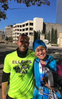 "My son Charlie Garcia, who ran the first leg of a relay with the Happy Feat Foundation, met me after I crossed the finish line.(<p><span style=""font-size: 1em; background-color: transparent;"">Leslie Barker</span></p>)"