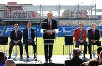 FC Dallas president Dan Hunt speaks during a news conference at Toyota Stadium in Frisco on Tuesday, Dec. 12, 2017. Seated from left are FC Dallas chairman Clark Hunt; Frisco Mayor Jeff Cheney; John Harkes, a member of the 2005 National Soccer Hall of Fame class; and U.S. Soccer Federation secretary general/CEO Dan Flynn. (David Woo/Staff Photographer)