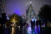 The Klyde Warren Park Christmas tree lighting ceremony, on Dec. 3, 2016 in downtown Dallas. Christmas is a bit of joy in the darkness of winter, writes atheist Zachary Moore. (Ben Torres/Special Contributor)