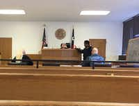 <p>In Judge Katy Hubener's Irving small claims court, Irving waitress Christal Scott (left) sued David A. Kost Jr. (right) for $7,500 in a used-car dispute.</p>(Dave Lieber/Staff)