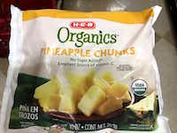 HEB, a Texas supermarket chain, sells organic-labeled bag frozen pineapple produced by Del Valle Verde Corp.'s processing company. NerdWallet bought this one in San Antonio.(Richard Read/Nerd Wallet)