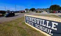 The front entrance of the Gainesville State School in Gainesville, Texas.(Jae S. Lee/Staff Photographer)