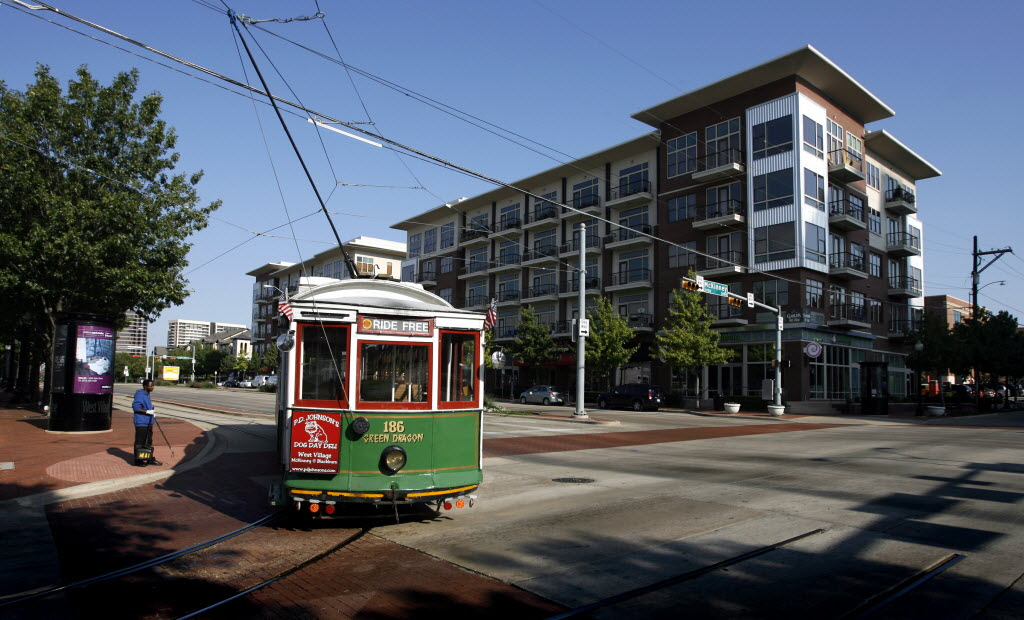 The M Line Trolley turns West on Blackburn Street in Uptown
