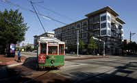The M-Line Trolley turns West on Blackburn Street in Uptown.(2010 File Photo/Staff)