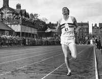<p>In 1954, Roger Bannister became the first person to break the four-minute barrier in the mile.</p>(Associated Press File Photo)