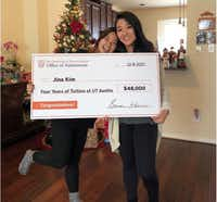 <p>Jina Kim (right) was surprised with a scholarship covering four years of tuition at the University of Texas.</p>(University of Texas)