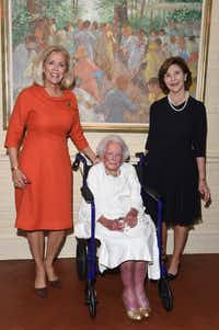 From left: Debbie Francis, Margaret McDermott and Laura Bush at the 2017 Legacy Awards dinner.(Kristina Bowman)