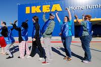 To keep campers awaiting the store opening from getting bored, IKEA gave them group competitions to perform at the new IKEA Home Furnishings store on State Highway 161 in Grand Prairie.(Tom Fox/Staff Photographer)
