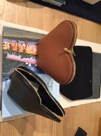 A heart-shaped, stand-up leather cosmetics bag at Cuyana for $90. (Staff /Dallas Morning News )