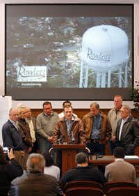 State Sen. Bob Hall and State Rep. Cindy Burkett (far left) represent much of the same area and stood together in this photo from December 2015 when U.S. Senator Ted Cruz gave remarks at Rowlett City Hall after a tornado hit.(Tom Fox/Staff Photographer)