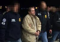 "Joaquin Guzman Loera aka ""El Chapo"" Guzman, was escorted in Ciudad Juarez by Mexican police on Jan. 19, 2017, as he was extradited to the United States. (Mexican Foreign Ministry)"