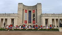 Members of the Kilgore College Rangerettes rehearsed before the opening ceremony of State Fair of Texas at Hall of State on Sept. 29, 2017.(Jae S. Lee/Staff Photographer)