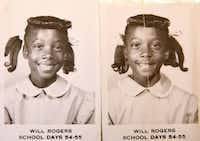 Twin sisters Dolores Swint (left) and Elores Stephens posed for school pictures at Will Rogers School in Wichita, Kan., during the 1954-55 school year. The girls lived in Kansas briefly before moving back to Tulsa.(Courtesy of Dolores Swint)