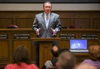 Rowlett Mayor Todd Gottel delivers his state of the city address during a city council meeting on Tuesday, January 19, 2016 at Rowlett City Hall in Rowlett Texas.  (Ashley Landis/The Dallas Morning News)
