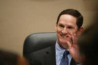 Dallas County judge Clay Jenkins waves to an attendee during a Dallas County Commissioners Court meeting in the Dallas County Administration Building downtown Dallas Tuesday February 21, 2017.(Andy Jacobsohn/Staff Photographer)