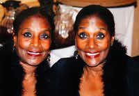 Dolores Swint (left) and Elores Stephens dolled up for an event about five years ago.(Courtesy of Dolores Swint)