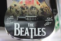 The shop include guitars made in Paracho, Michoacan. Mexico remains a loyal fan base for all things Beatles, said owner Ricardo Calderon.(Alfredo Corchado/Staff)