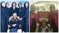 <p>Left: Sisters Karen Smith (top, from left), Elores Stephens, Connie Anderson, Dolores Swint and Marsha Mingilton dressed in matching suits to celebrate their mother, Rosie Lee Jackson (sitting), on her 75th birthday in 2002. Jackson died in 2011. Right: The twins take care of their 92-year-old father, Harold Jackson, who lives in a nursing home.</p>(Courtesy of Dolores Swint and Elores Stephens)